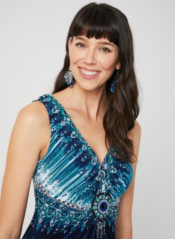 Mosaic Print Maxi Dress, Blue, hi-res,  long dress, maxi dress, aztec dress, day dress, tie dye dress