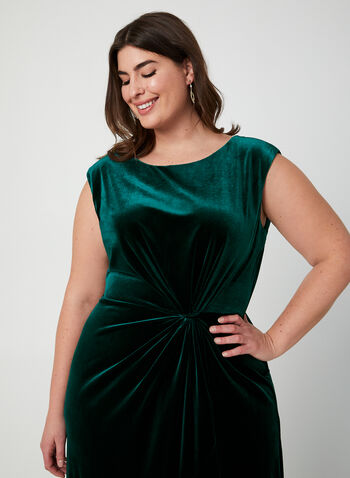 Velvet Midi Dress, Green, hi-res,  midi dress, velvet, ruching, sleeveless, boat neck, fall 2019