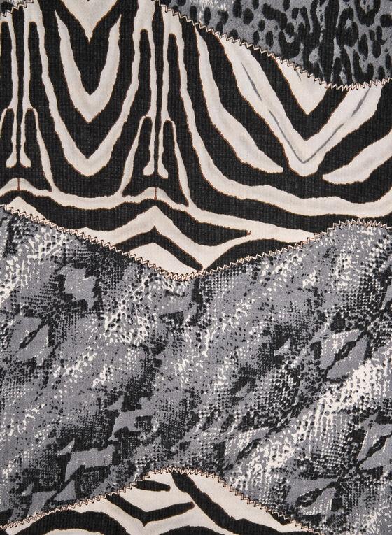 Mixed Animal Print Scarf, Grey, hi-res