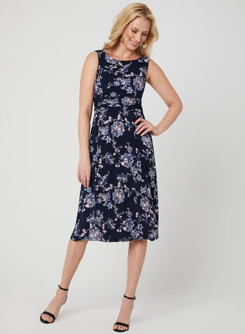 Floral Print Fit & Flare Dress, Blue, hi-res,  jersey, day dress, fit and flare, sleeveless, floral print, spring 2019