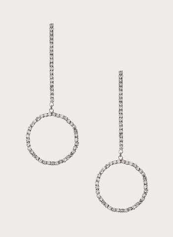 Crystal Rod Circle Drop Earrings, Silver, hi-res