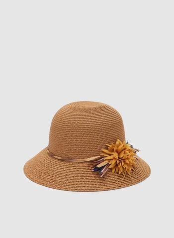 Chapeau en paille avec détail floral, Blanc cassé, hi-res