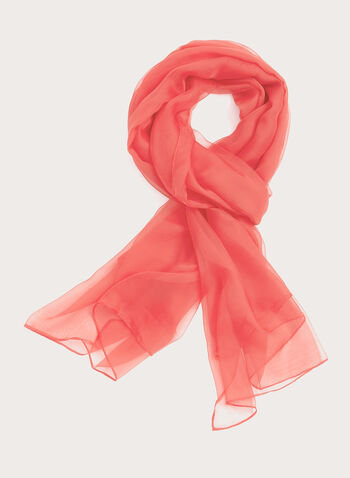 Solid Colour Chiffon Wrap, Orange, hi-res