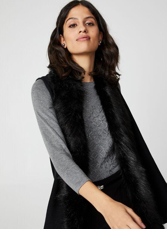 Rhinestone & Pearl Embellished Sweater, Grey