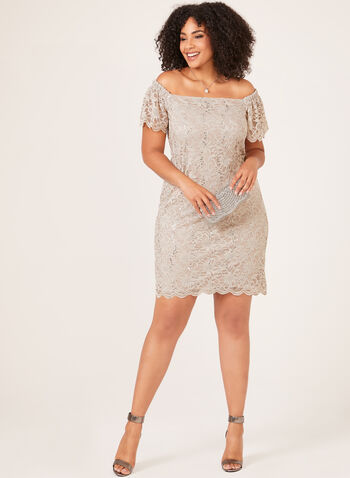 Sequin Lace Off The Shoulder Dress, Off White, hi-res