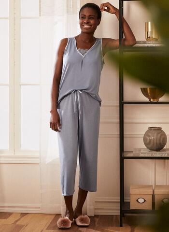Lace Detail Pyjama Set, Blue,  pyjama, set, 2-piece, capris, top, sleeveless, v-neck, lace detail, drawstring, pull-on, spring summer 2021