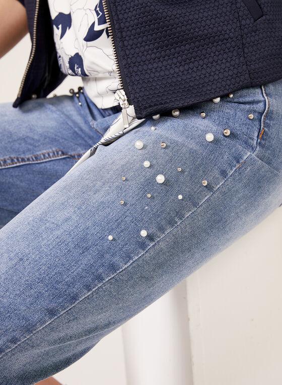 GG Jeans - Capri en denim à détails perles, Bleu, hi-res