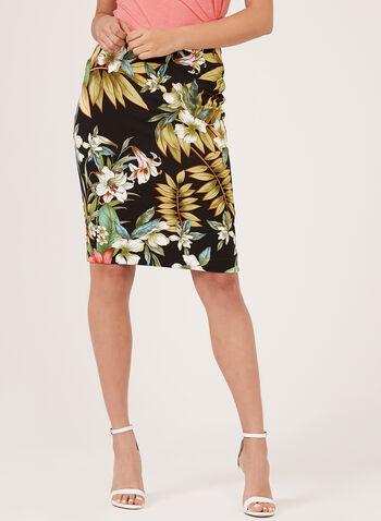 Floral Print Scuba Skirt, Multi, hi-res