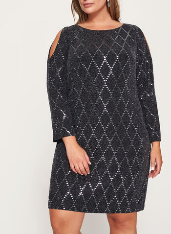 Sequin Embellished Cold Shoulder Dress, , hi-res