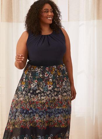 Robe maxi à jupe fleurie , Bleu,  printemps été 2021, robe, maxi, robe de jour, encolure dégagée, sans manches, buste plissé, motif floral, boutons, matière fluide