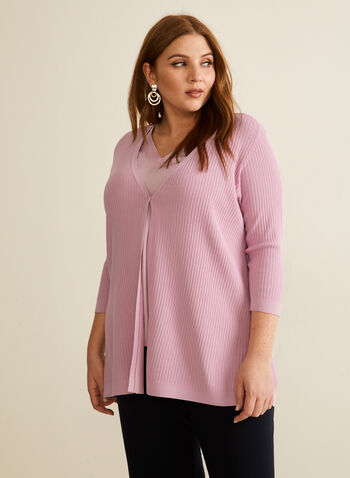 Single-Button Rib Knit Cardigan, Purple,  cardigan, rib knit, ribbed, stretchy, button, 3/4 sleeves, v-neck, spring summer 2020