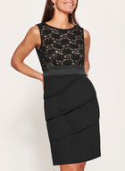 Sequin Lace Tiered Dress, Black, hi-res