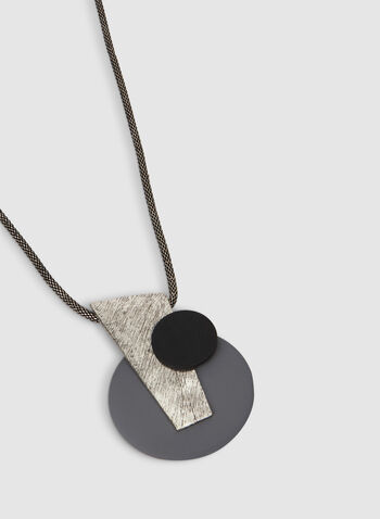 Collier à pendentif géométrique abstrait, Gris, hi-res,  gros pendentif, pendentif surdimensionné, automne hiver 2019