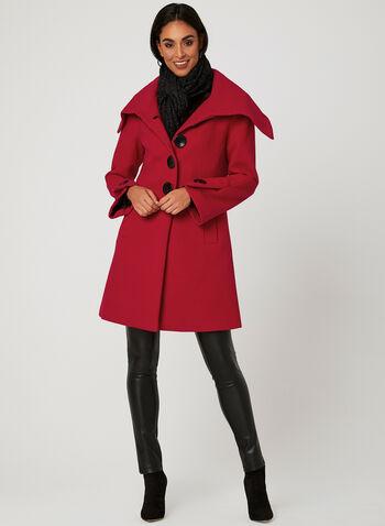 Manteau aspect laine à gros boutons, Rouge, hi-res