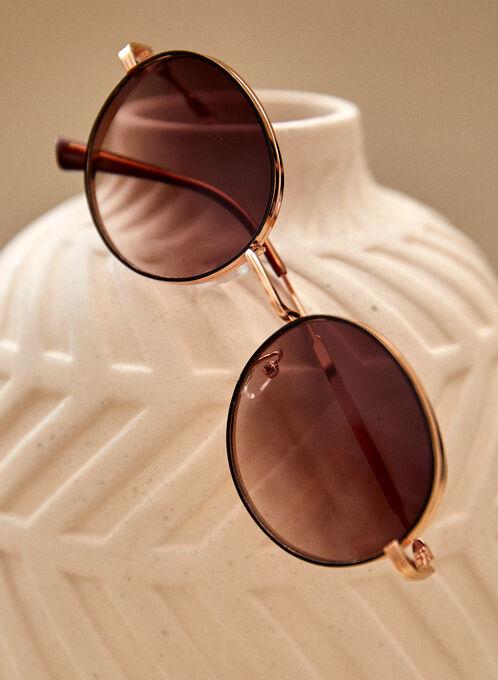 Round Sunglasses, Gold