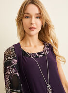 Dress & Floral Mesh Cardigan Set, Purple