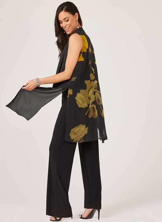 Veste sans manches à fleurs et mousseline, Noir, hi-res