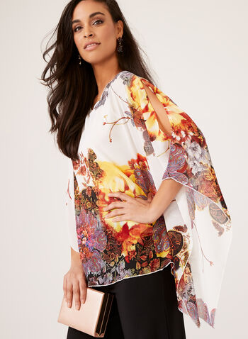 Ness - Graphic Poncho Blouse, White, hi-res