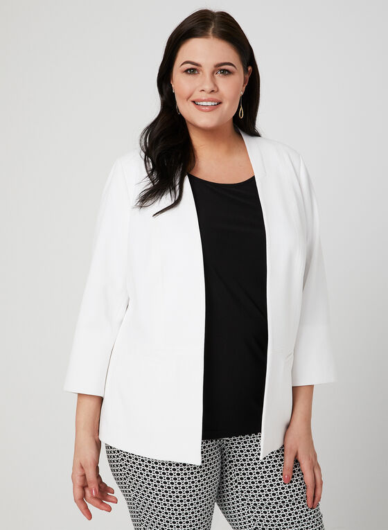 Open Front Crepe Jacket, Off White, hi-res