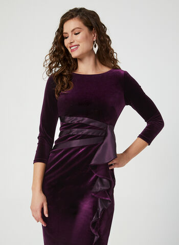 Velvet Dress With Satin Detail, Purple, hi-res,  velvet dress, dress, short dress, cocktail dress, satin, fall 2019, winter 2019, Holiday