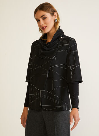 Geometric Print Cowl Collar Top, Black,  fall winter 2020, top, geometric print, jacquard, knit, long sleeves, made in canada