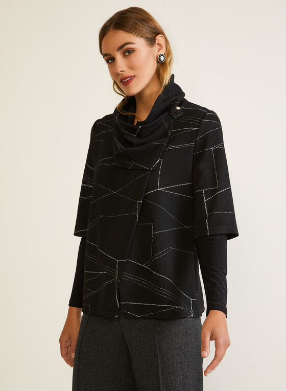 Geometric Print Cowl Collar Top, Black