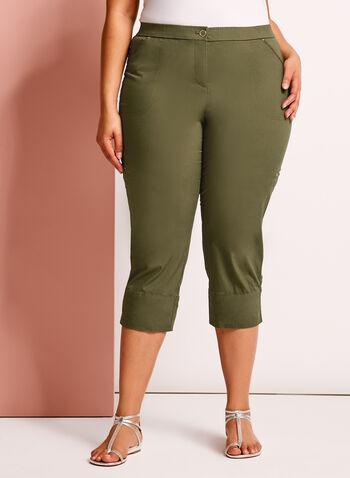 Pantalon capri cargo coupe moderne, Vert, hi-res