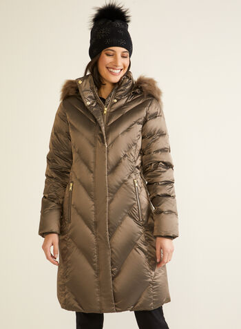 Iridescent Down Blend Coat, Brown,  fall winter 2020, iridescent, down blend, feathers, coat, winter, jacket, matching, removable hood, faux fur, stand collar, machine washable, warm, laura exclusive, chevron quilting, slimming, pocket, knit cuffs, zipper, zip, long sleeve