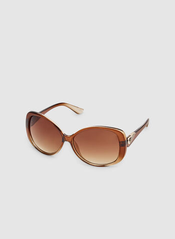 Ombré Plastic Sunglasses , Brown, hi-res