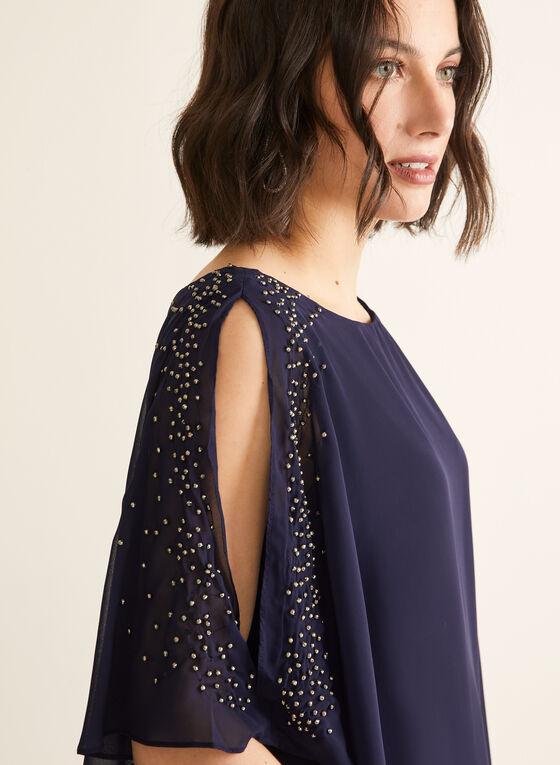 Pearl Detail Poncho Dress, Blue