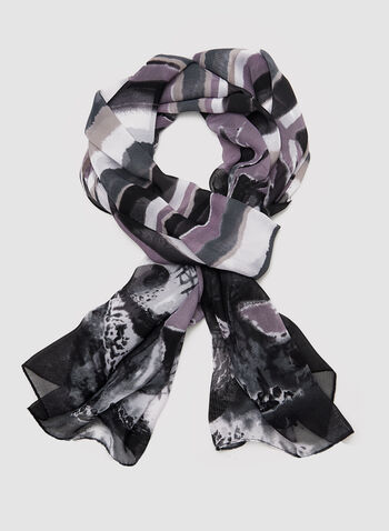 Abstract Print Scarf, Black, hi-res