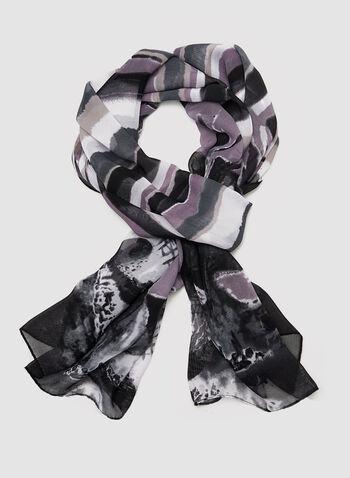 Foulard imprimé abstrait, Noir, hi-res