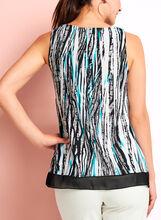 Haut drapé asymétrique à motif abstrait, Noir, hi-res