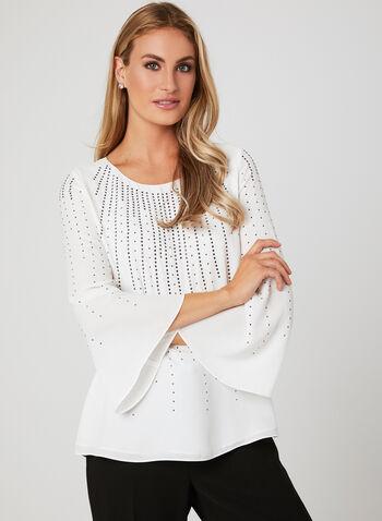 Rhinestone Angel Sleeve Blouse, Off White, hi-res