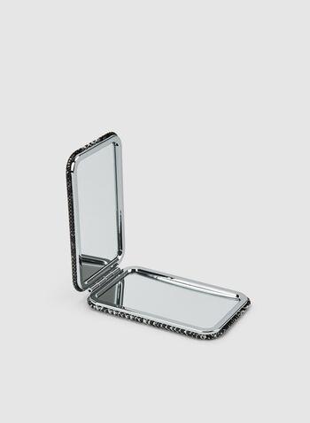 Miroir de poche en faux serpent, Gris,  miroir, rectangulaire, faux serpent, automne hiver 2019