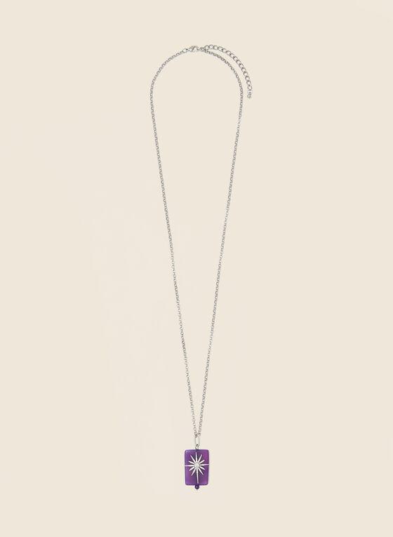 Collier à pendentif soleil , Violet