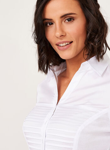 Ribbed Button Down Shirt, White, hi-res