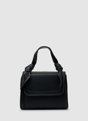 Tie Detail Satchel , Black,  faux leather, knot, tie detail, removable shoulder strap, fall 219, winter 2019