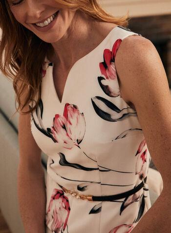 Joseph Ribkoff - Robe droite sans manches à fleurs, Blanc,  robe, robe de jour, fourreau, imprimé floral, ribkoff, sans manches, encolure en V, ceinture, extensible, confortable, fait au Canada, printemps été 2021