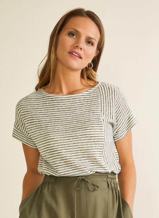 Stripe Print Linen-Like Tee, Green