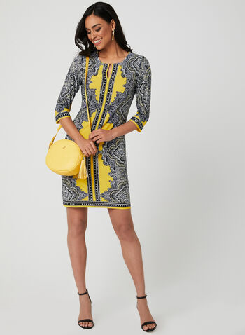 Paisley Print Jersey Dress, Yellow, hi-res