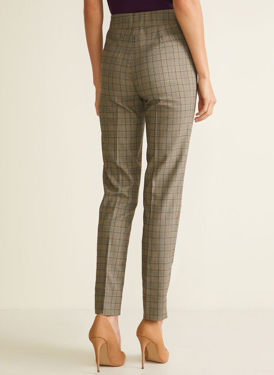 Tartan Print Pull-On Pants, Brown