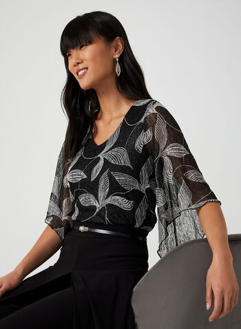 Angel Sleeve Top, Black, hi-res,  leaf, v-neck, lace, angel sleeves, lining, glittering, fall 2019, winter 2019