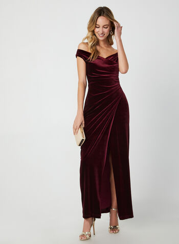V-Neck Velvet Gown, Red, hi-res,  dress, occasion dress, gown, velvet, V-neck, extended shoulder, slit, fall 2019, winter 2019