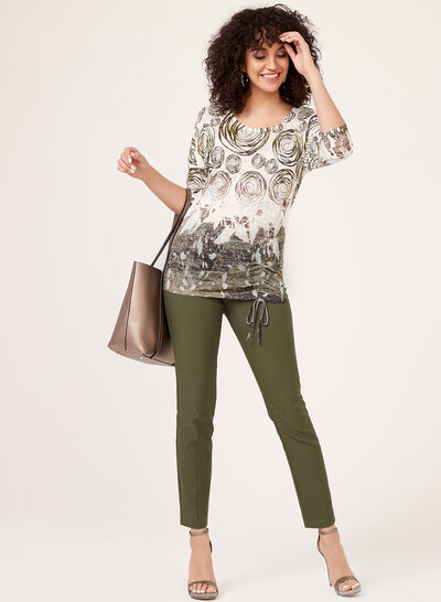 ¾ Sleeve Top With Drawstring