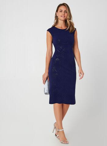 Robe fourreau pailletée, Bleu, hi-res,  robe cocktail, fourreau, pailletée, mancherons, losange, mousseline, automne hiver 2019