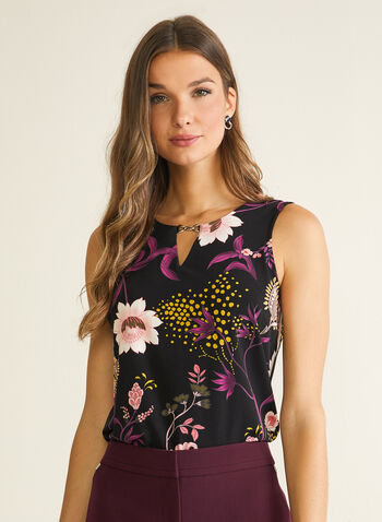 Floral Print Keyhole Detail Top, Black,  top, floral, sleeveless, keyhole detail, spring summer 2020