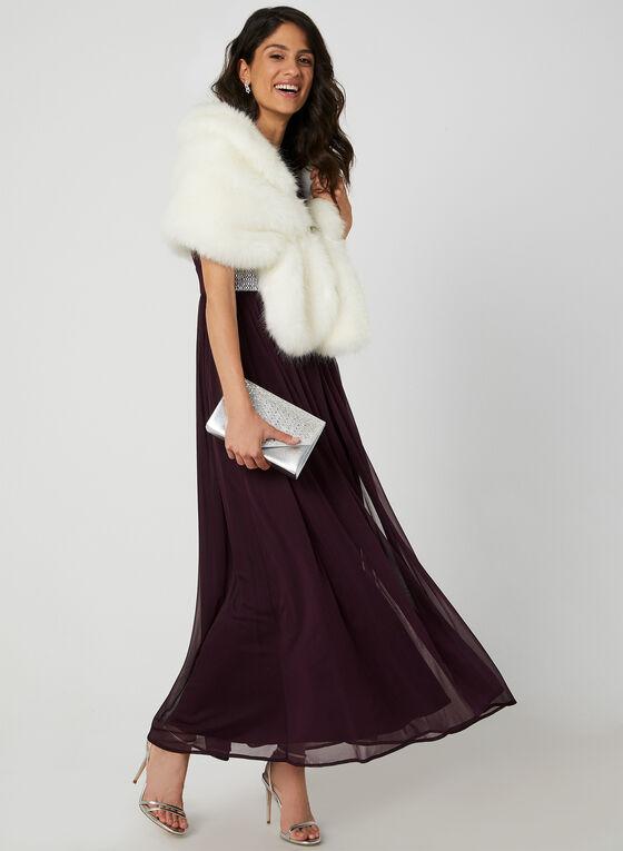 Robe à taille ornementée et maille filet, Rouge, hi-res
