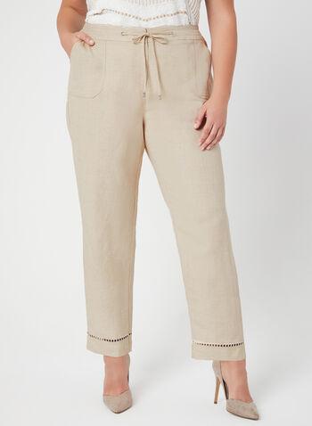 Pantalon à coupe moderne et jambe large, Blanc cassé, hi-res