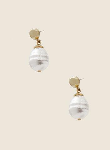 Pearl Dangle Earrings, Off White,  earrings, dangle, pearl, metallic, fall winter 2020